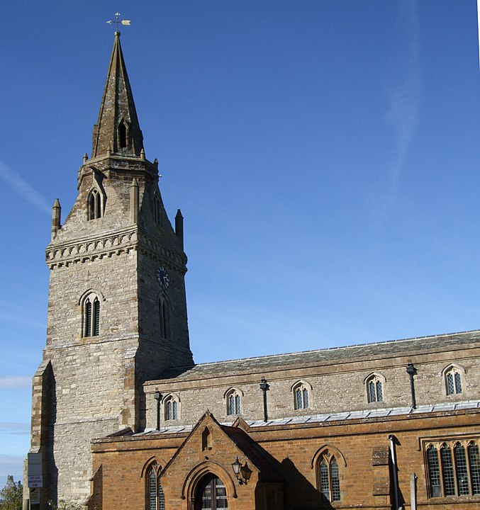 Clerestory, West tower and spire of the parish church of St John the Baptist, Piddington, Northamptonshire, sen from the southeast