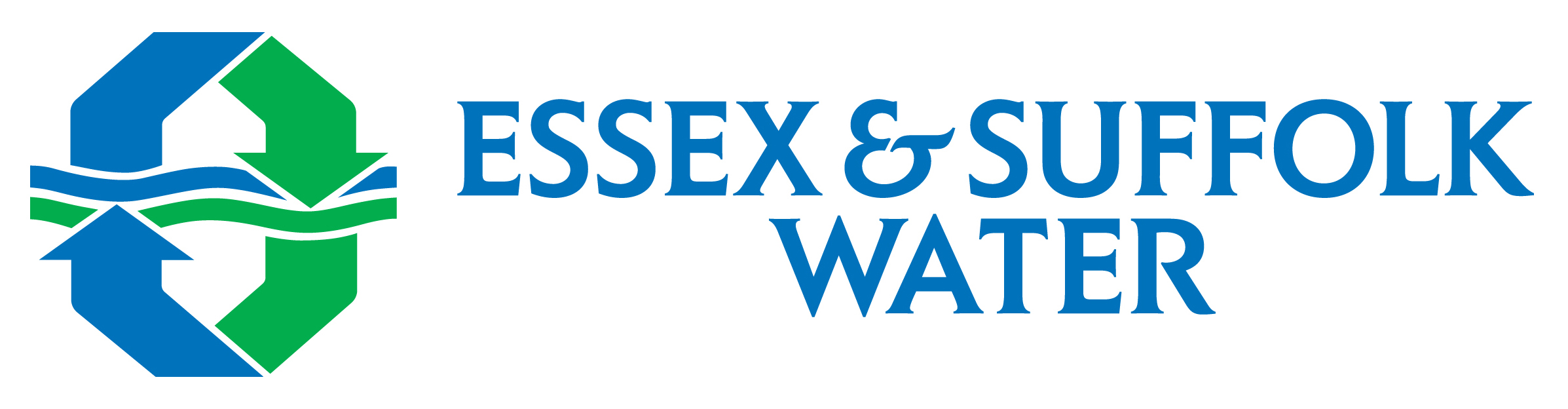 Essex & Suffolk Water logo  - Green and blue circular arrows with water running through the middle