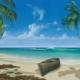 A Caribbean beach scene with a rowing boat, white sand, palm trees and blue sea - painted
