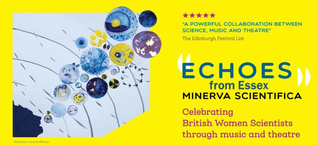 Bright Yellow banner for Echoes from Essex project with an illustration in blue showing a woman in silhouette making sound waves, echoes full of scientific pictures