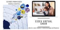 Echoes from Essex Virtual Choir advert showing our logo and a lady sitting at a laptop singing with a young child