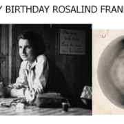 Rosalind Franklin in a mountain cafe with a picture of her famous photo 51