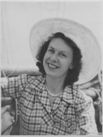 Aeronautical Engineer Beryl Platt in her summer dress and hat looking very glamorous on her engagement