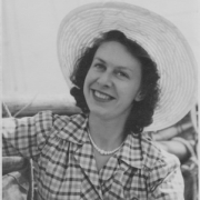Aeronautical Engineer Beryl Platt in her summer dress and hat looking very glamorous on her engagement