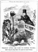 Faraday leans over a boat to give a card to smelly father Thames in the GREAT STINK of 1858 - black and white drawing