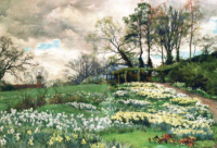 an old fashioned garden beautifully painted with spring flowers in abundance