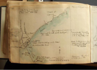 Her hand-drawn copy of a local map showing the coastline near Lyme Regis
