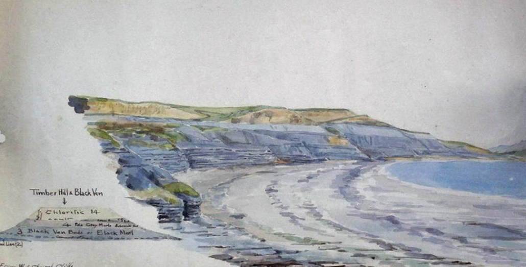 Gulielma Lister's painting of the beach at Lyme Regis made famous by the palaeontologist Mary Anning. Notice the mention of Black Ven in her geological notes where Anning's father was fatally wounded.