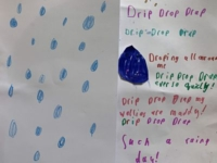 A story by one of our children about a rainy day with lots of raindrops