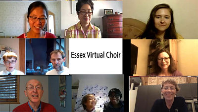 Essex Virtual Choir - pictures of them on zoom
