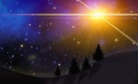 A magical Christmas Night Sky with large star