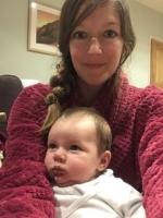 Soprano Alice Privett holding her new baby