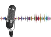 A microphone with some coloured graphs of vocal sound